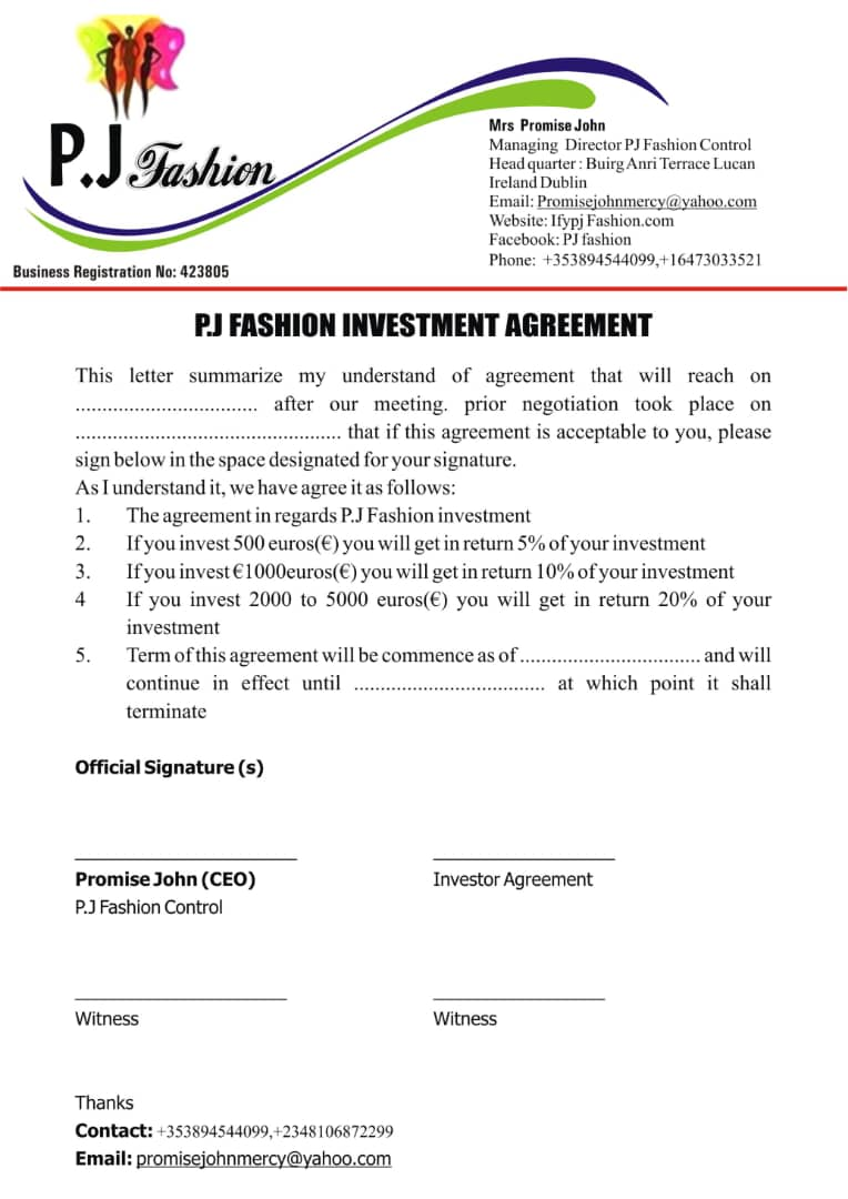 AGREEMENT PJ FASHION PARTNERSHIP